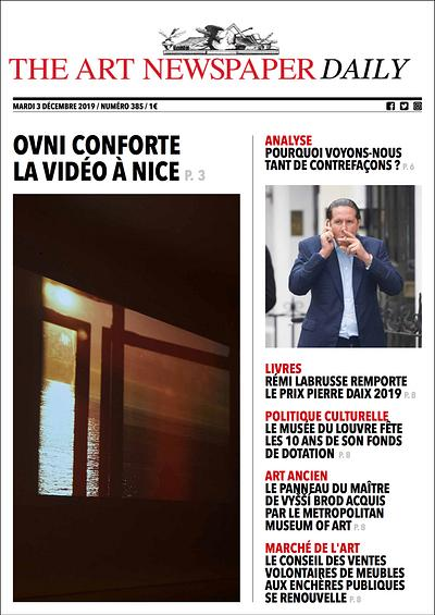 Article by Alexandre Crochet in ART NEWSPAPER DAILY, Ed. Français #385, December 3, 2019!