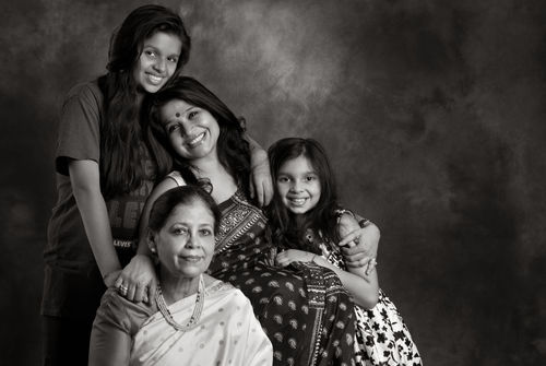 Swati Bhattacharya with her Mom, Mamta and daughters, Ananya and Noyona.