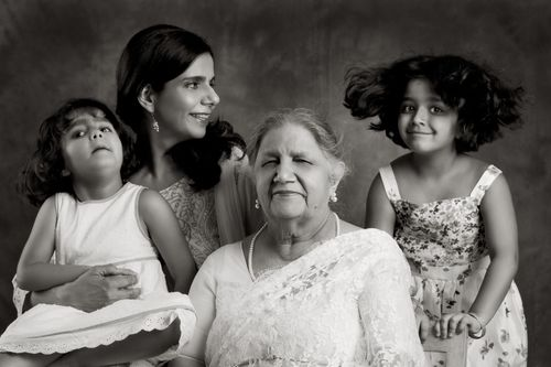 Anuradha Sharma and her daughters, Anokhi and Saba. And Mom Mrs. Mallick.