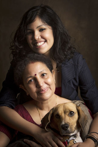 Joyita and her Mom, Pushpita Banerjee. And her 2nd daughter, Poshto.
