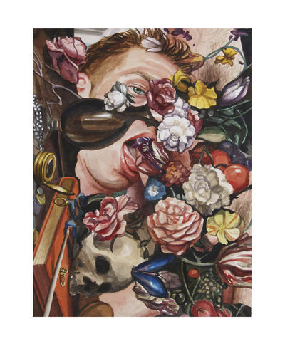 Boy with Flowers and Skull