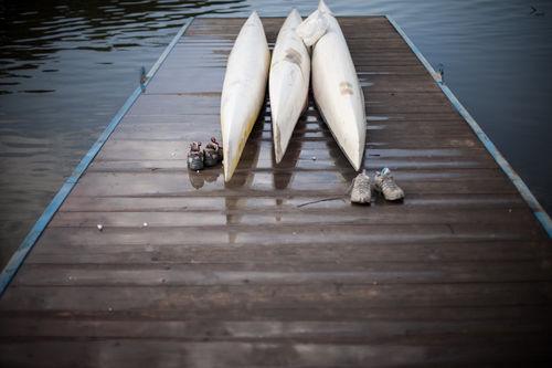 Rowing team practicing