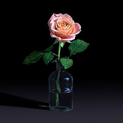 Rose in a lab bottle