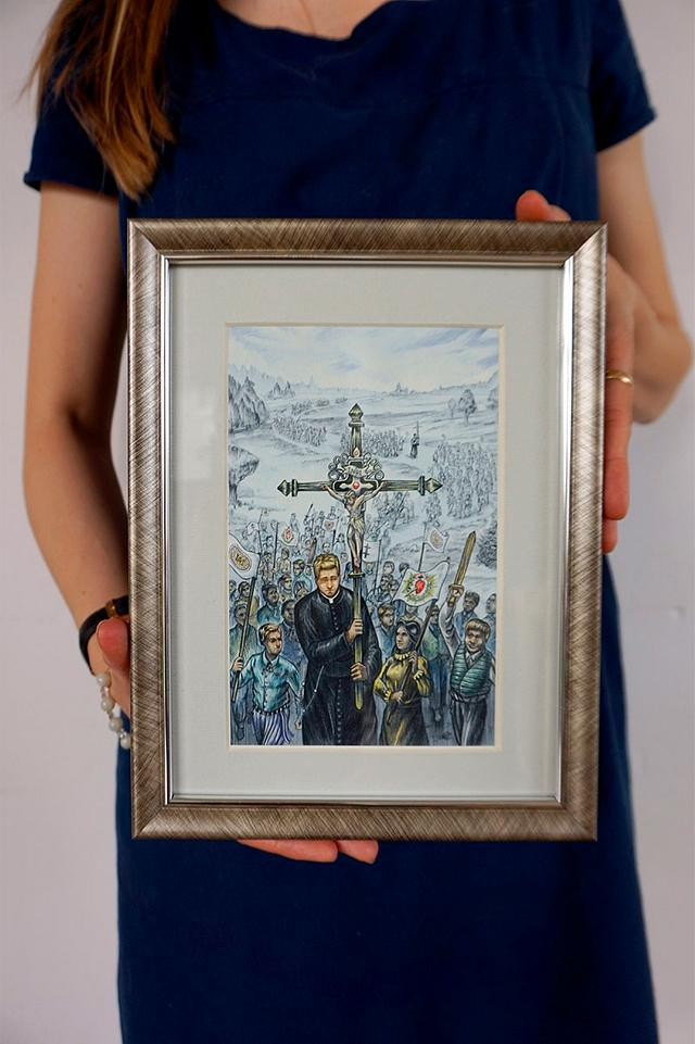 Catholic procession - color illustration