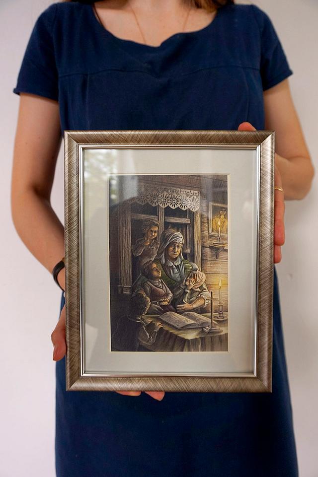 Mother reading to children - color illustration