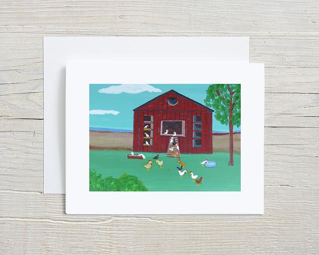 """Around the Chicken House"" card by Charlotte Senneff #800002"