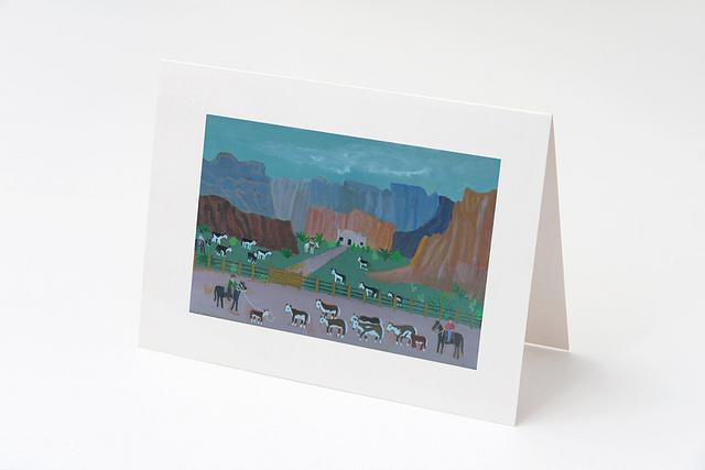 """""""Bringing Home the Herd"""" card by Charlotte Senneff #800002"""