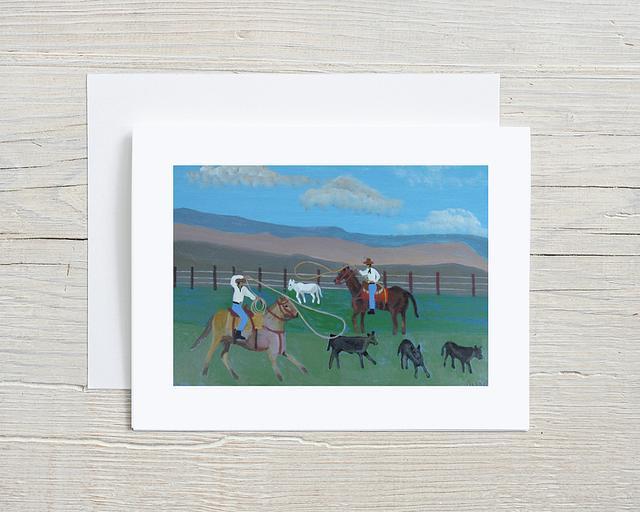"""Calf Roping"" card by Charlotte Senneff #800002"