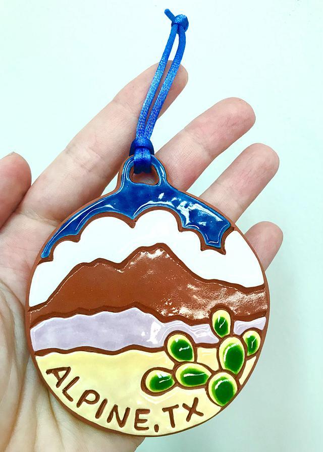 """Alpine, TX"" ceramic ornament by Amanda Calhoun #800020"