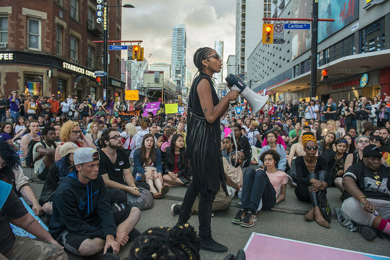 Black Lives Matter activist Janaya Khan organizes a sit-in during the Trans Pride March in Toronto, on Friday July 1 , 2016.
