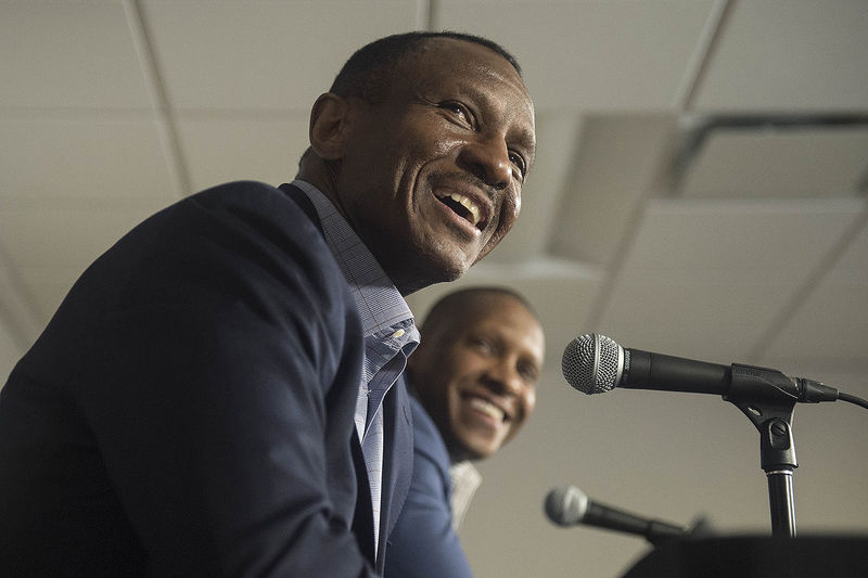 Masai Uriji (R), Toronto Raptors General Manager, and Dwane Casey, Toronto Raptors coach, talk to the media at the BioSteel Centre to announce the extension of Casey's contract, in Toronto, Tuesday, June 7, 2016.