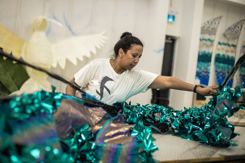 """Michelle Reyes, works on the Queen costume she will wear during the parade. The grade 1 teacher will be playing mas as Queen for Mas-K Club. """"The feeling of being part of something big and the strong sense of community is what makes so many people volunteer their time for the carnival."""""""