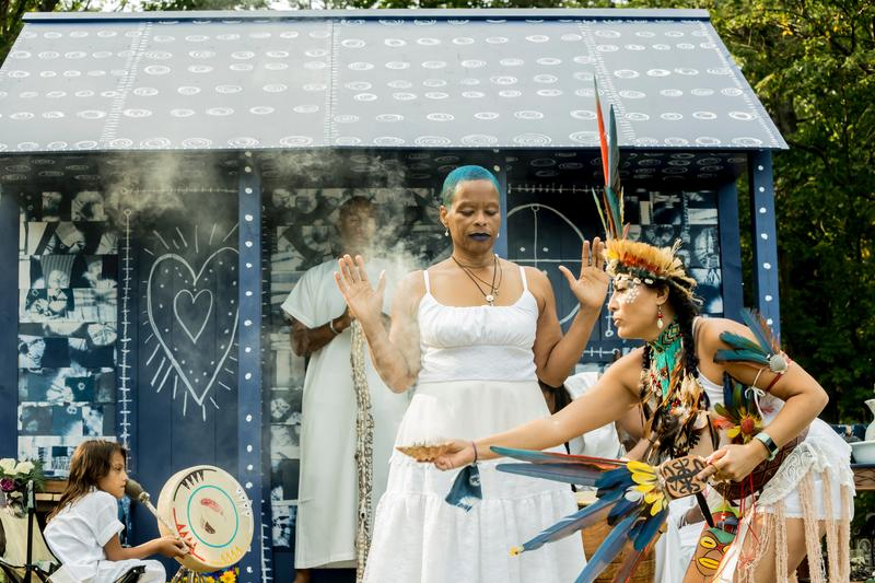 Ifé Franklin's Indigo Project's the 4th ancestor slave cabin and Ring shout were presented in Franklin Park, Boston MA Fall 2018