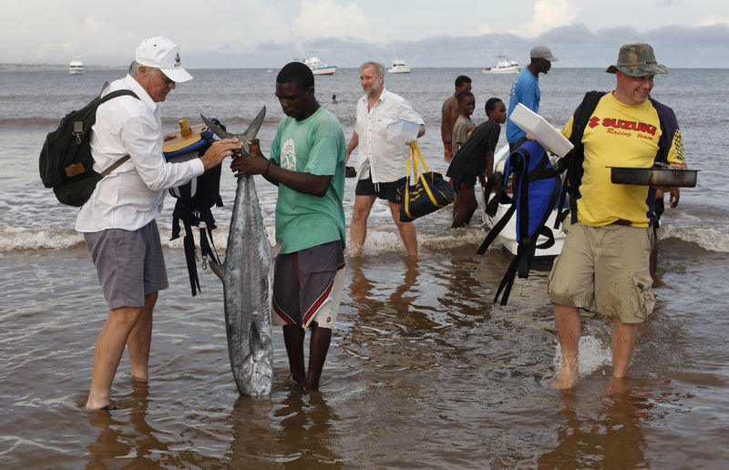 In this Tuesday, Nov. 24, 2009 picture a Kenyan fisherman help South African sports fisherman Quintin Maine, left, to carry a barracuda caught by him in Malindi.Fishermen who fish for a living and sportsmen who catch fish for fun say they've seen a rise in fish stocks in northern Kenya and suspect the rise is due to Somali pirates who have forced commercial trawlers off the Somali coast.