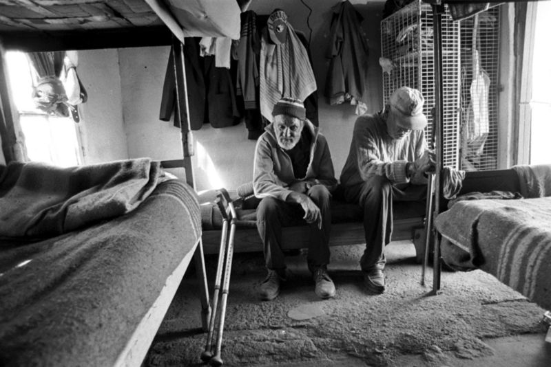 Two old men live in a hostel, Gauteng 1998
