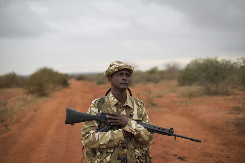 Kenya Wildlife Ranger Nelson Munga from the anti poaching unit during a patrol in Tsavo East game park in Kenya 7 June 2013. PHOTO/KAREL PRINSLOO