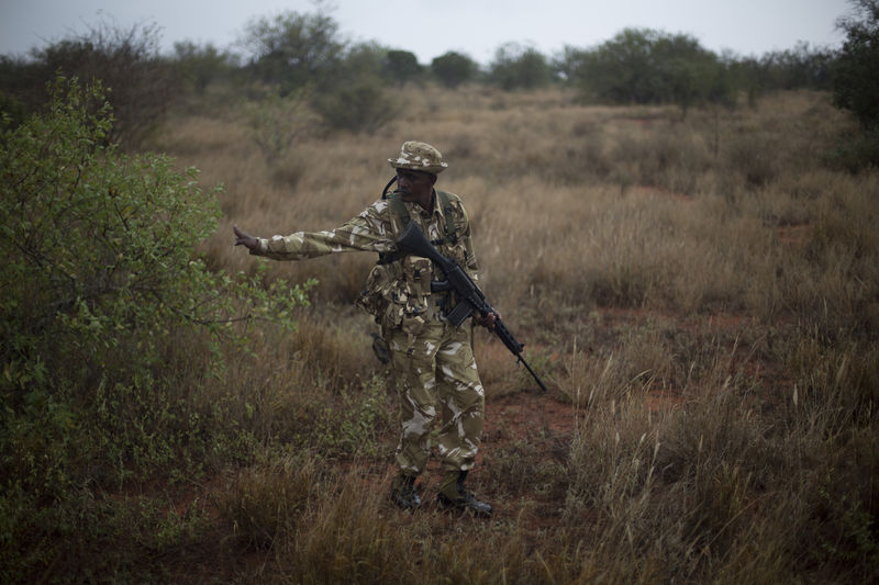 Kenya Wildlife Rangers from the anti poaching unit  during a patrol in the Tsavo East game park in Kenya 9 June 2013. PHOTO/KAREL PRINSLOO