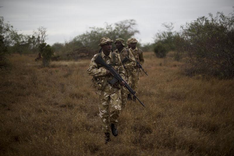 Kenya Wildlife Rangers from the anti poaching unit  during a patrol in the Tsavo East game park in Kenya 9 June 2013. PHOTO/KAREL PRINSLOO