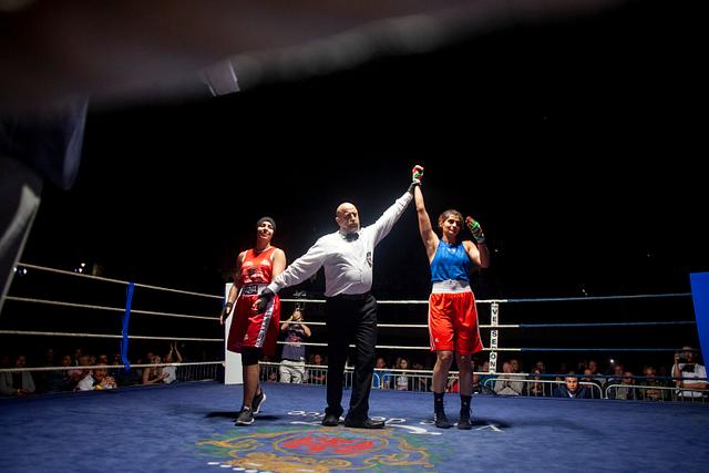 The first female Iranian boxer to win an overseas fight - France