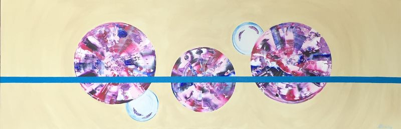 Bubble Pop (48x16x1.5 inches) Acrylic on Canvas 2015
