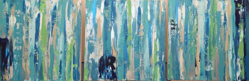 Celadon Rain (3 of 18x18x1.5 inches) Acrylic on Canvas 2015