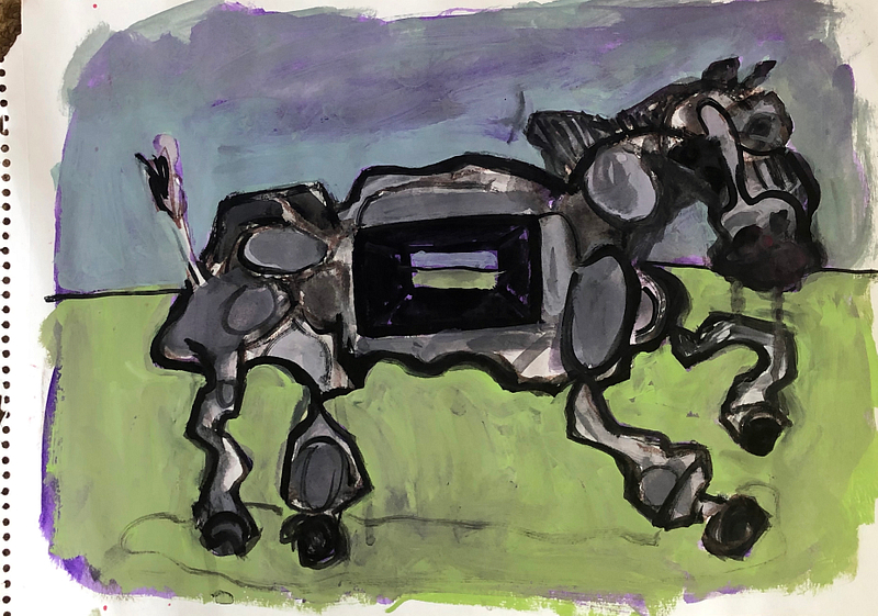 study / horse with micro black hole