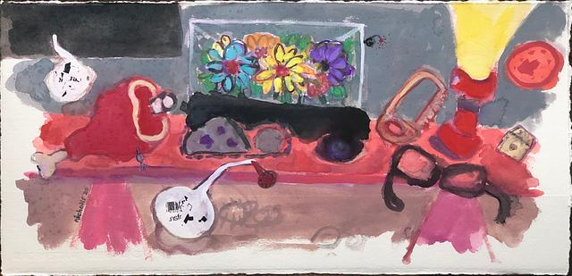 remote controlled fake plastic flowers _ version 2 / gouache and watercolour on paper / 58cm x 28cm / 2020
