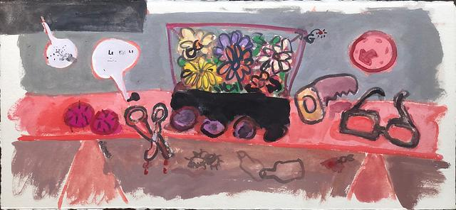 remote controlled fake plastic flowers _ version 1 / gouache and watercolour on paper / 58cm x 28cm / 2020
