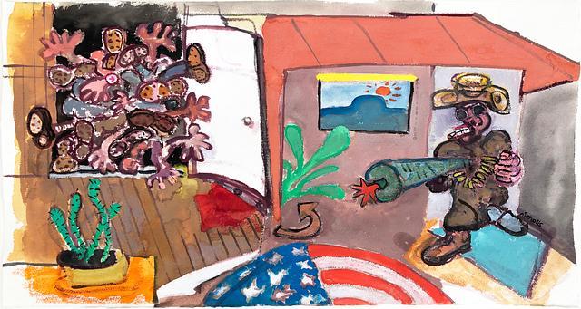 rug _ version 1 / gouache and watercolour on paper / 75.8cm x 43cm / 2020