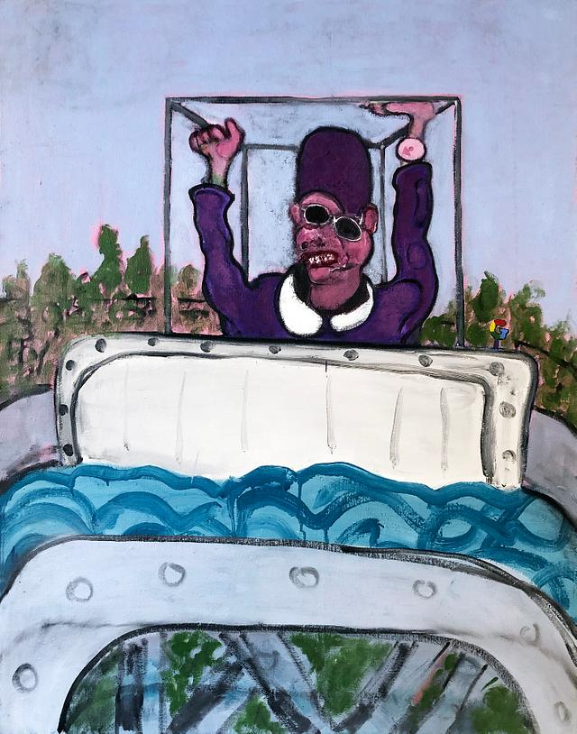 Pope waterpark boat mobile / oil on canvas / 100cm x 120cm / 2020 /