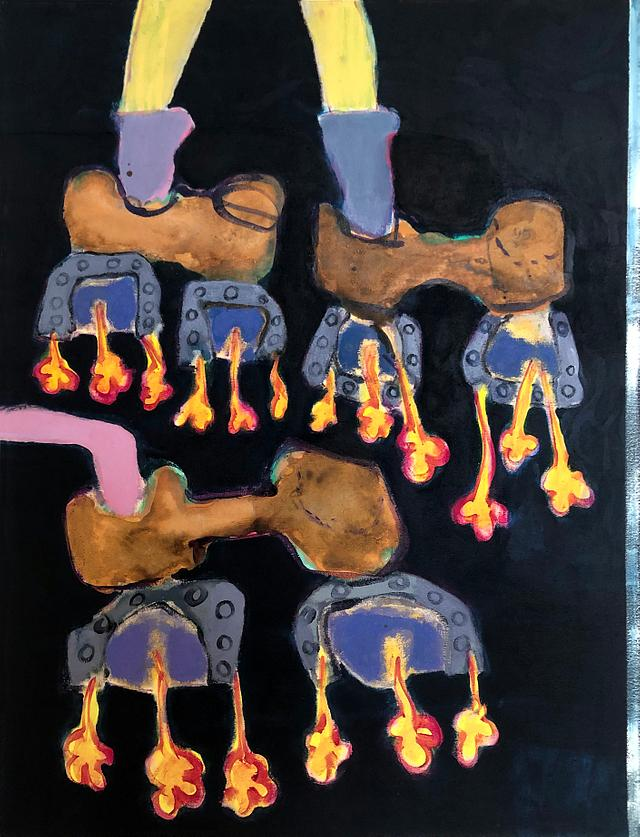 Night cowboy hoverboot race / acrylic on canvas / 80cm x 80cm / 2020