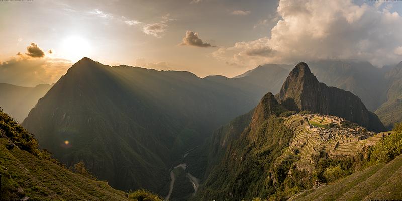 Dusk in Machu Picchu [Panorama]