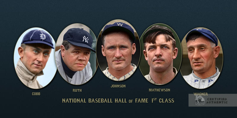 The members of the first class of the National Baseball Hall of Fame (Class of 1936)