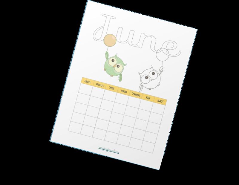 Cute Owl Coloring Calendar