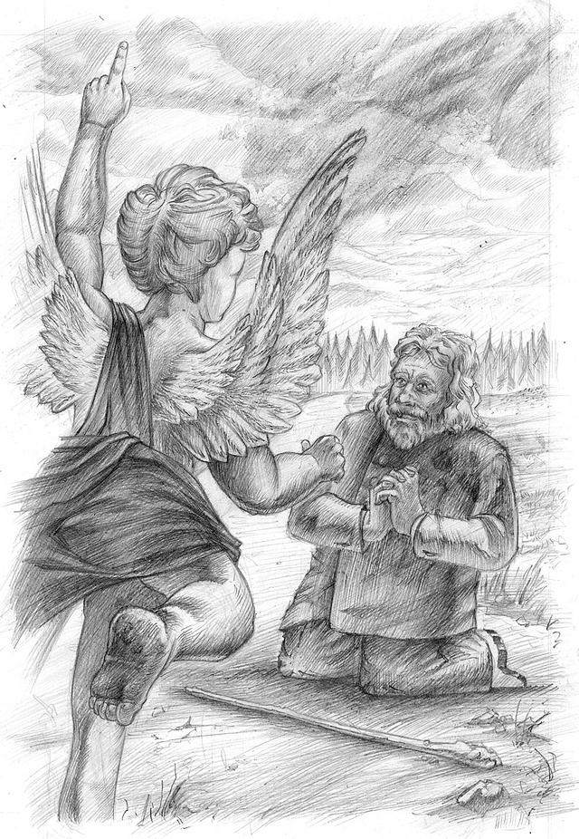 "Original pencil art ""Angel and old man"" illustration from the book ""Laiškai karžygiams"""