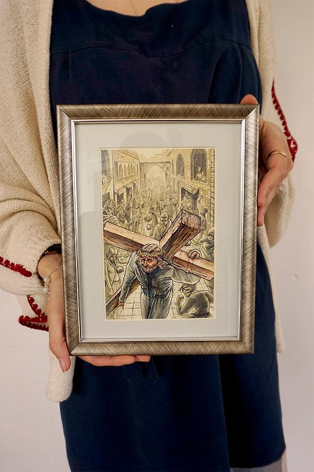Christ carrying cross - illustration print