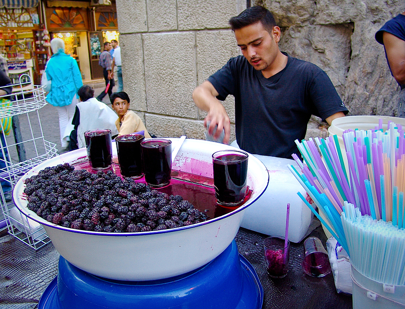 Refreshing blackberry juice on a hot summer day. Damascus.