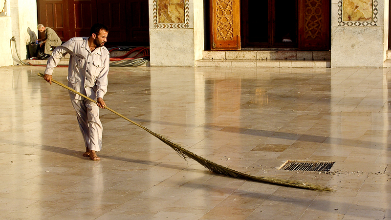 Courtyard sweeper. Umayyad Mosque. Damascus.