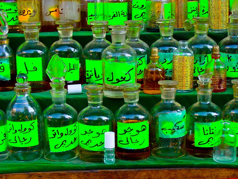 Perfumes for sale. Khan al-Khalili market. Cairo.