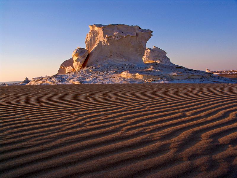 Wind-sculpted gypsum rock in the White Desert. Western Sahara.