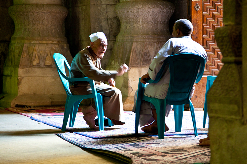 Caretakers at the 19th-century al-Rifa'i Mosque. Cairo.