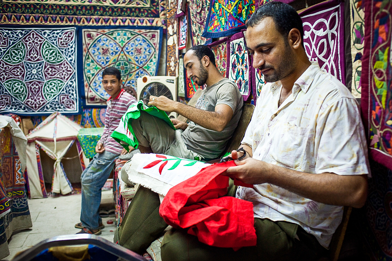 Making quilts in Tentmakers' Street. Cairo. Artisans have been making tents and quilts here since the Mamluk era (circa 14th century).