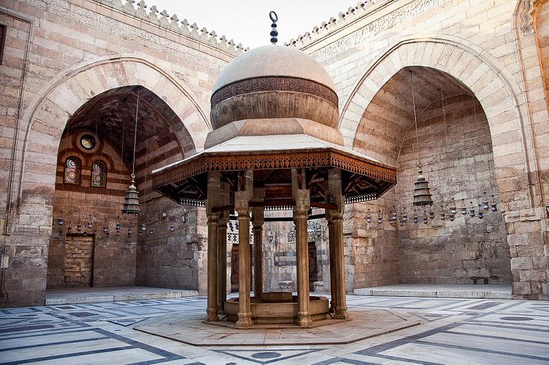 Courtyard of the 14th-century mosque-madrasa complex of Sultan Barquq. Cairo.