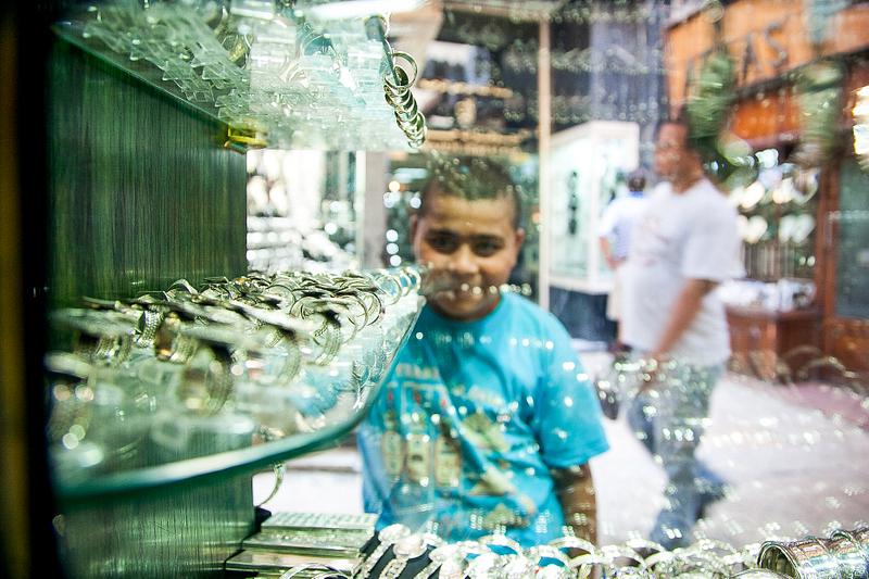 Picking out rings. Khan al-Khalili market. Cairo.