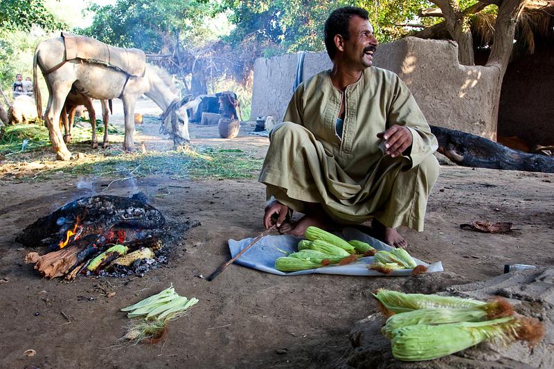 Roasting corn near Beni Suef.