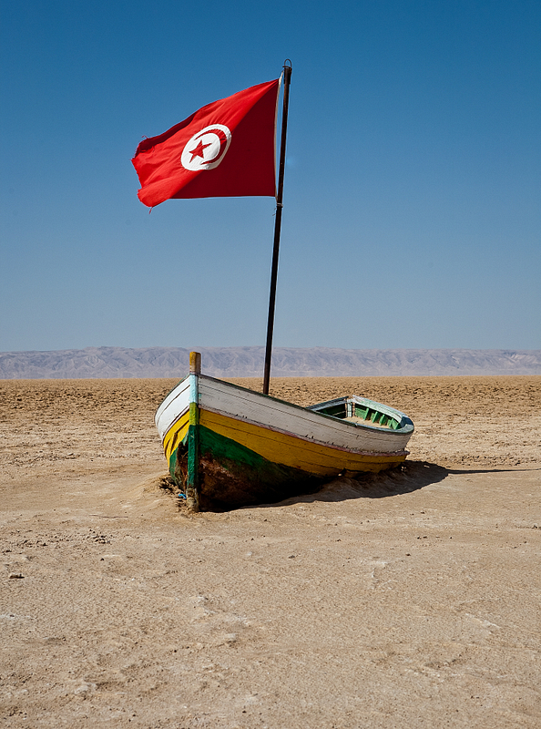 High and dry on the Chott El-Jerid, the Sahara's largest salt flats. Winter rains  often turn the flats into an inland sea.
