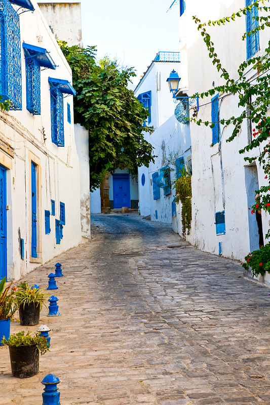 Street scene. Sidi Bou Said. Tunis.