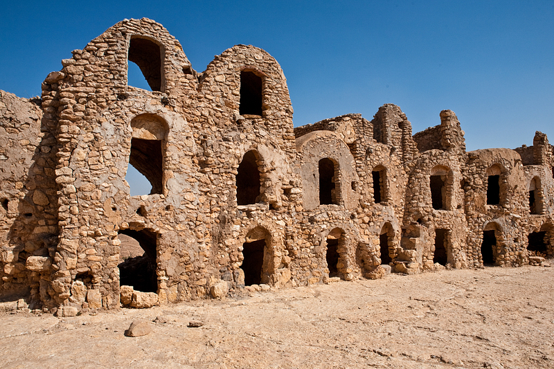 Ksar Joumaa, a medieval Amazigh hilltop fortress town. Near Tatouine.