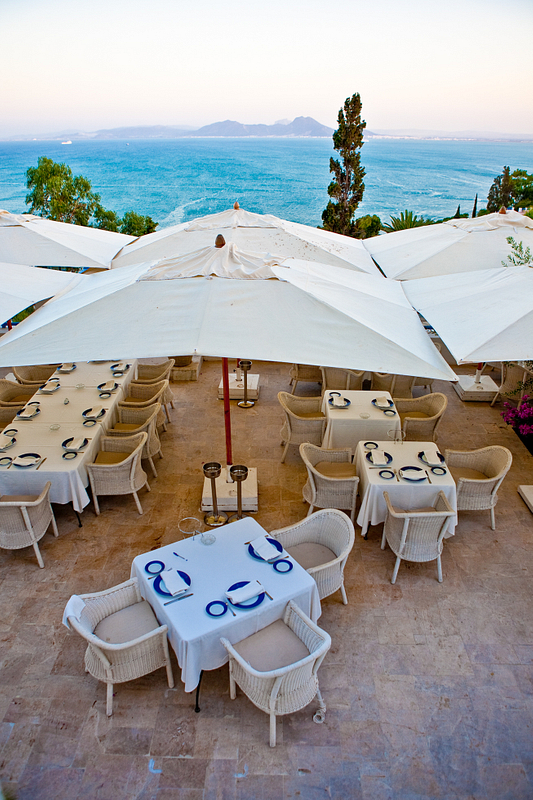 Seaside dining in Sidi Bou Said. Tunis.