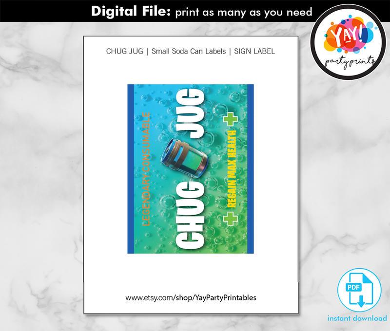 Chug Jug Label Printable DIGITAL instant download PDF file . Water Bottle Labels for FN Birthday Par